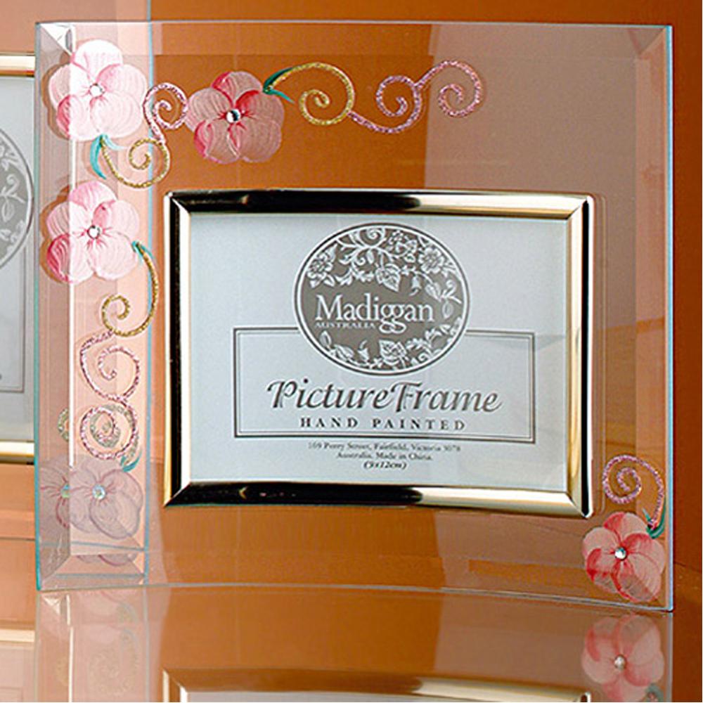 Madiggan玫瑰手工彩繪橫式玻璃相框(粉紅.紫色.金黃三色任選)