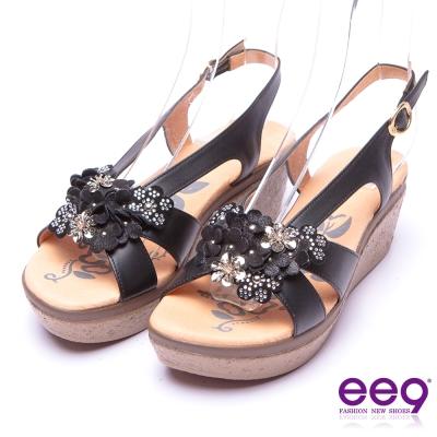 【ee9】花漾年華-鑽飾造型花朵防水台楔型涼鞋*黑色