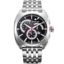BENTLEY 賓利 Solstice系列 黑暗紳士計時手錶-黑x銀/45mm