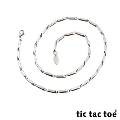 tic tac toe 白鋼造型單鍊-菱形面(中)