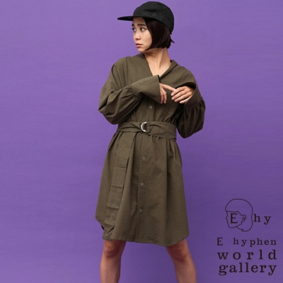 E hyphen 寬袖印花上衣開襟V領長版襯衫洋裝-附腰帶