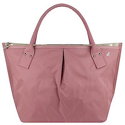 agnes b. 粉紅粉色星星灰色內裡水餃包(大)
