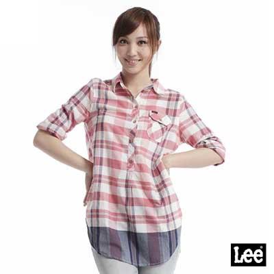 Lee-格紋長板襯衫-女款-粉紅