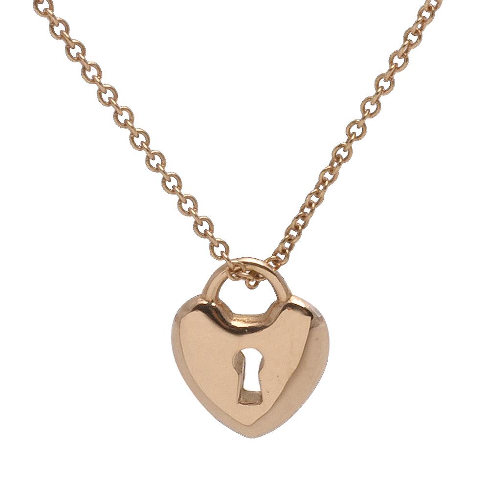 TIFFANY&Co.Locks系列18K金心形鎖頭墜飾項鍊金