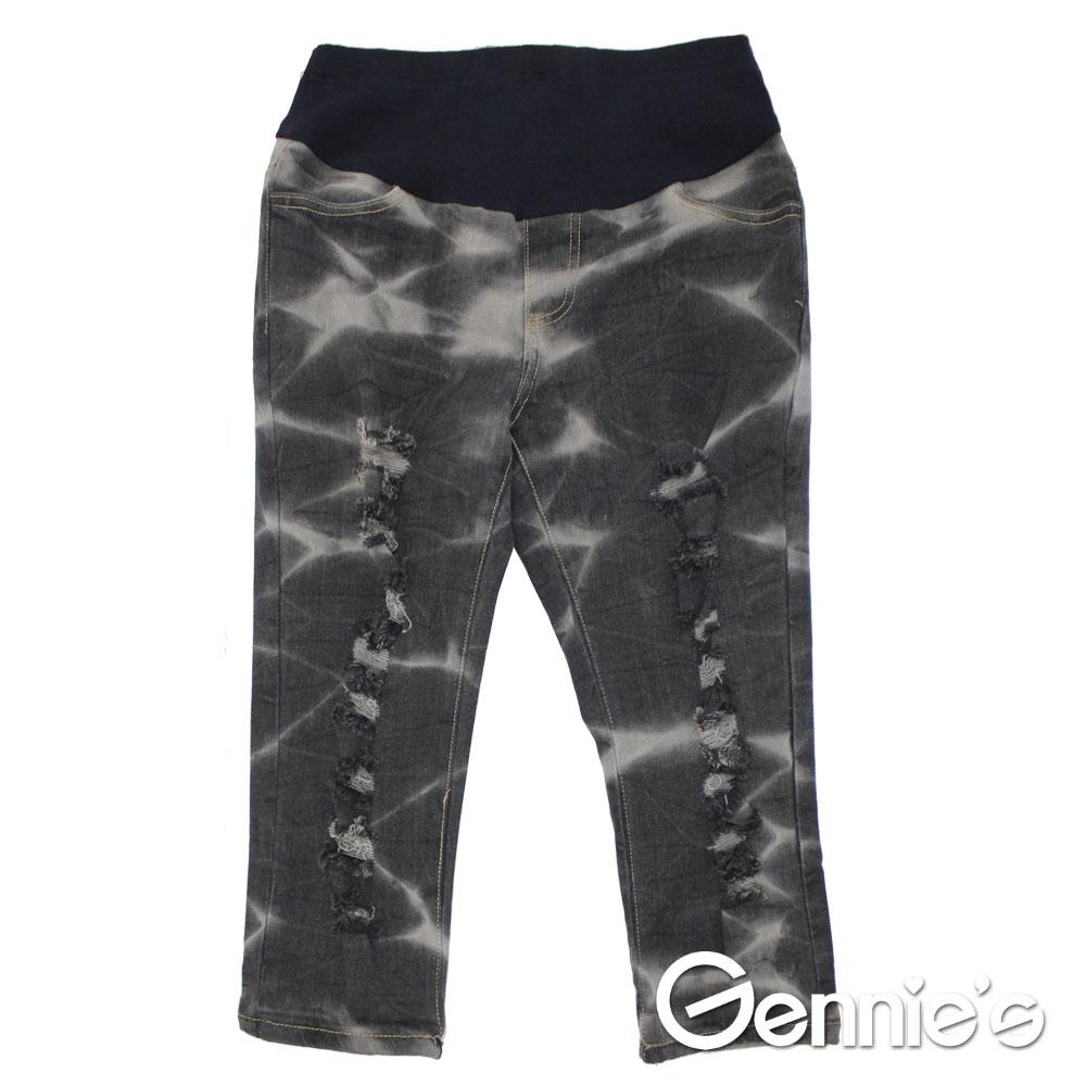 【Gennie's奇妮】水洗紋刷色抓破造型孕婦牛仔七分褲(黑G4118)