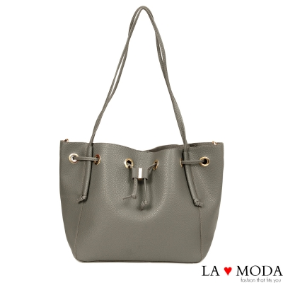 La Moda 出國旅遊必備超大容量多種揹法肩背斜背水桶包(灰)