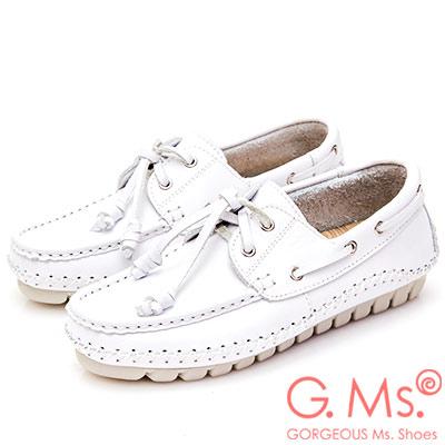 G.Ms. MIT系列-牛皮縫線綁帶帆船鞋-白色