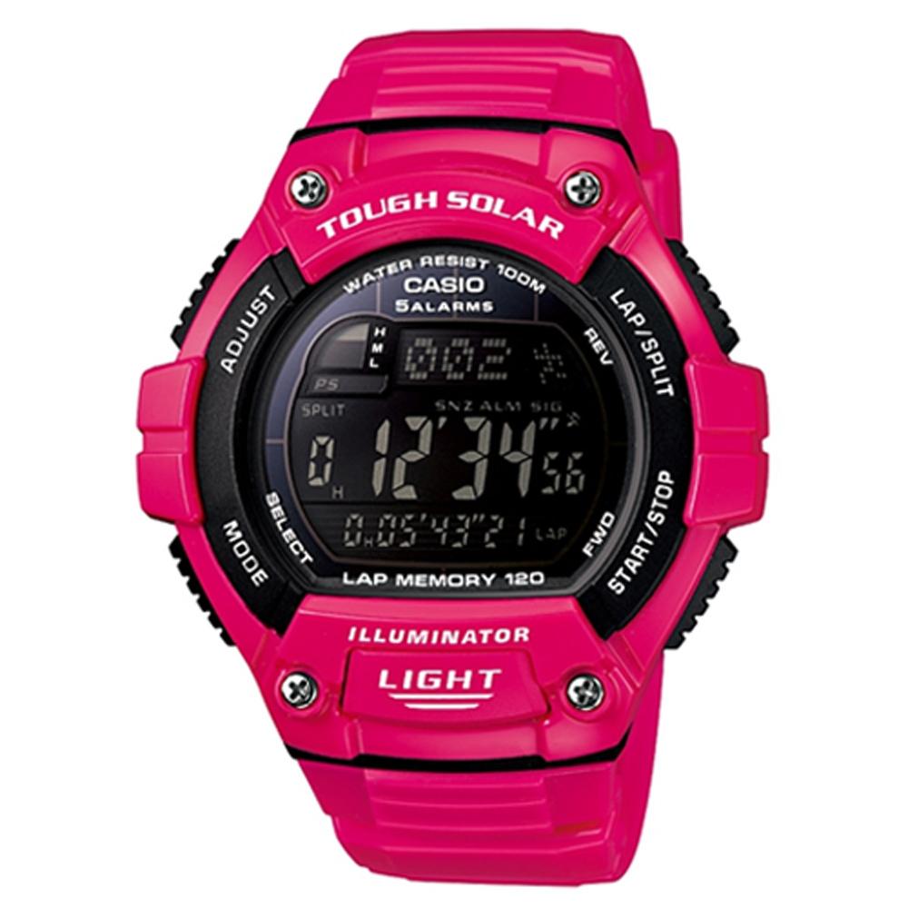 CASIO 陽光遊俠全方位電子運動錶(W-S220C-4B)-桃紅色/49mm