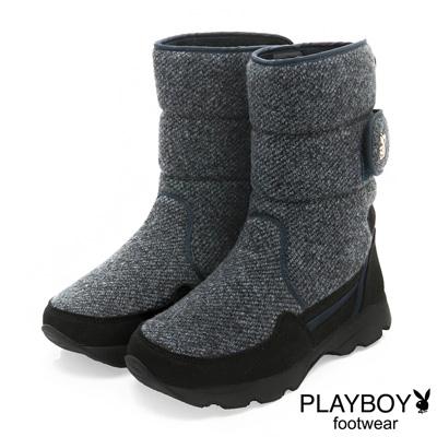 PLAYBOY-獨特指標-側兔頭毛呢中筒太空靴-藍