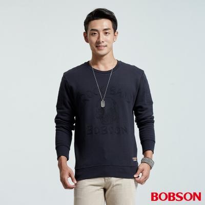 BOBSON-男款肩車裝飾線刷毛上衣