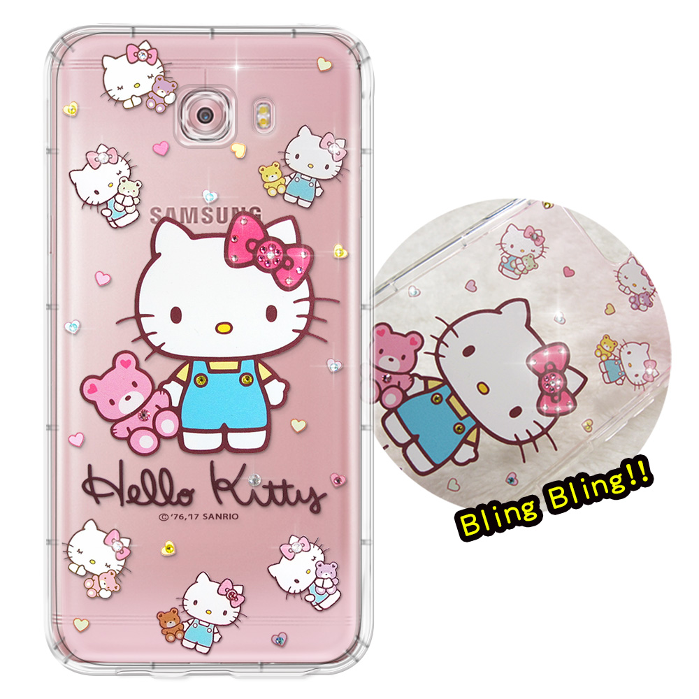 正版凱蒂貓Samsung Galaxy C9 Pro夢幻童話彩鑽氣墊手機殼愛戀小熊