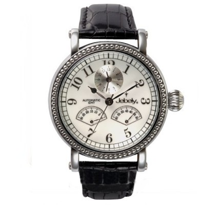 Jebely瑞士機械錶-盧加諾特區系列-雙扇造型飛返式秒針機械錶-白/黑皮帶/41mm