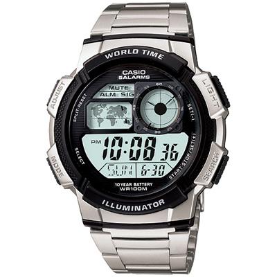 CASIO 世界之城電子數位不銹鋼帶錶(AE-1000WD-1A)