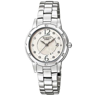 SHEEN 璀燦迷人施華洛世奇水晶腕錶(SHE-4021D-7A)-白/28mm