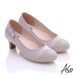 A.S.O舒適通勤 真皮金蔥編織側結飾中跟鞋 淺灰
