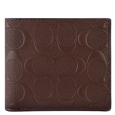 COACH 巧克力色皮革大C立體浮雕雙摺六卡短夾COACH