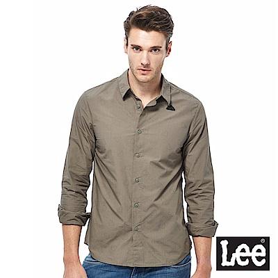 Lee 休閒長袖襯衫-男款-蓖麻灰