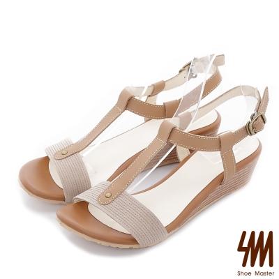 SM-羅馬系列-雙色T字領美腳背橢圓中低楔型涼鞋-灰色