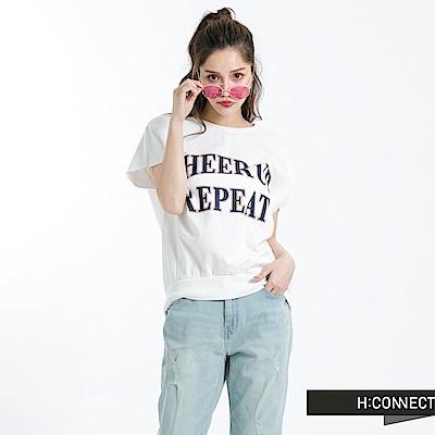 H:CONNECT 韓國品牌 女裝-印字短袖上衣-白
