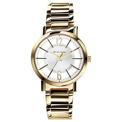 RELAX TIME RT56 輕熟風格系列鏤空腕錶-銀x金/36mm