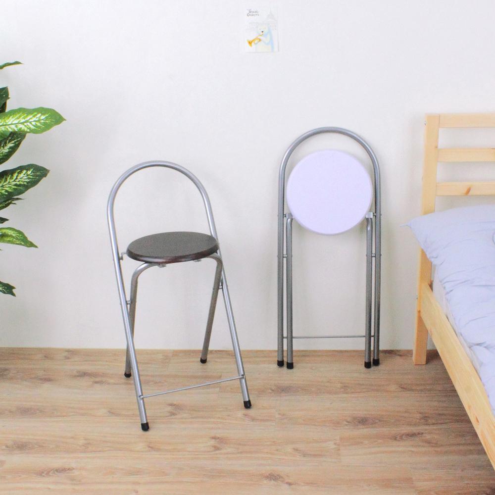 E-Style 鋼管高背(木製椅座)折疊椅/高腳椅/吧台椅/折合椅-二色