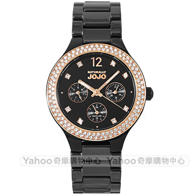 NATURALLY JOJO 璀璨晶鑽時尚陶瓷手錶-黑X玫瑰金37mm