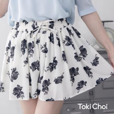 東京著衣 印花傘襬雪紡褲裙(共二色)