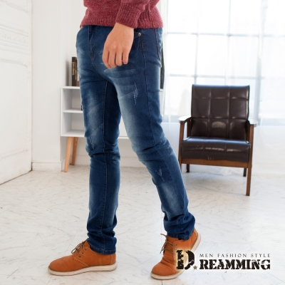 Dreamming FS皮標刷色貓抓伸縮小直筒牛仔褲