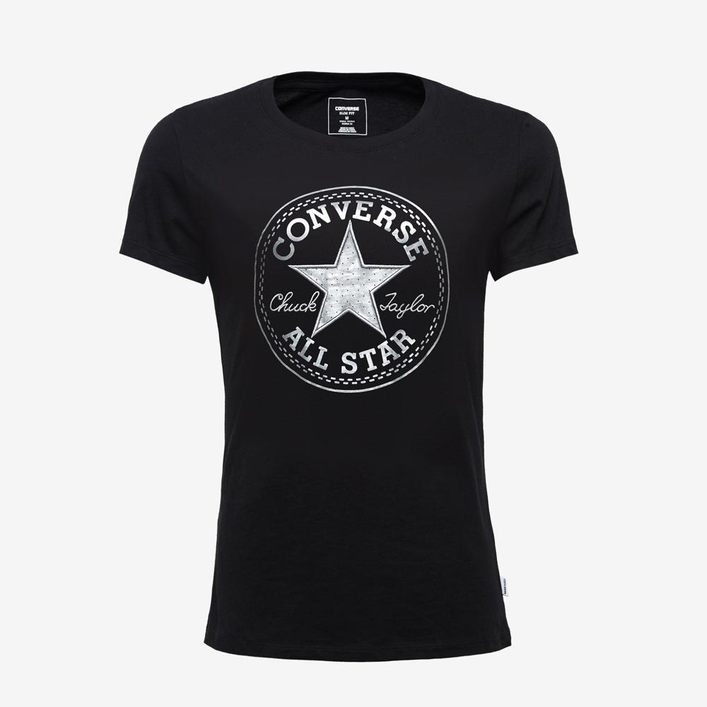 CONVERSE-女休閒短T恤10004441A01-黑
