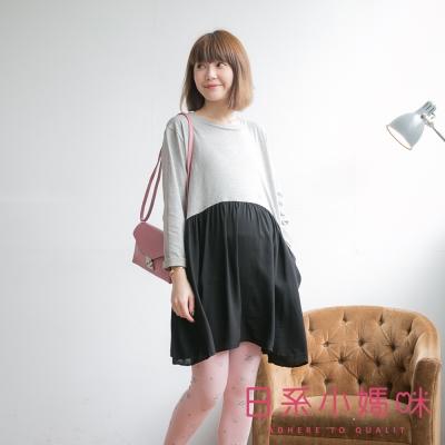 日系小媽咪孕婦裝-純色質感拼接雪紡裙襬洋裝