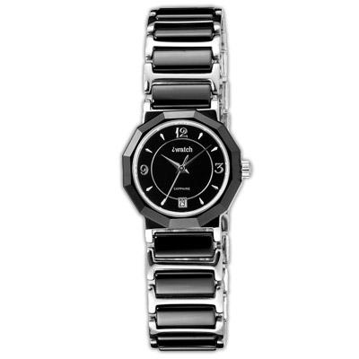 iwatch 歐風時尚陶瓷女錶-黑/23mm