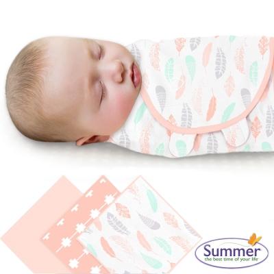 美國 Summer Infant 嬰兒包巾, 純棉3入 (粉柔羽翼)