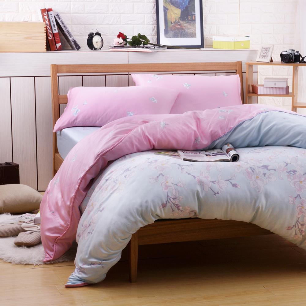 梵蒂尼Famttini-唯美戀語 加大頂級純正天絲萊賽爾兩用被床包組