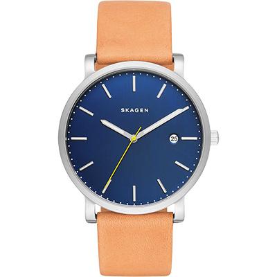 SKAGEN Hagen 北歐時尚石英腕錶-藍x咖啡/40mm
