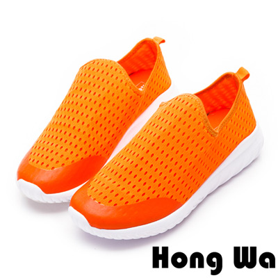 Hong Wa-輕量系列透氣洞洞運動休閒鞋-橘