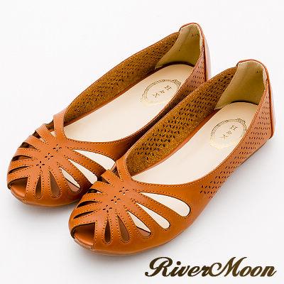 River&Moon涼鞋-異國皮革簍空洞洞露趾平底涼鞋-黃棕