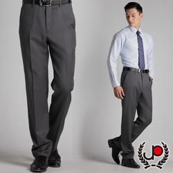 極品西服-質感高雅.混紡羊毛平面西裝褲_淺灰條(BS313-1)