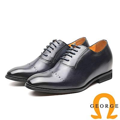 GEORGE 喬治-內增高系列 手工時尚尖頭皮鞋 男鞋-黑