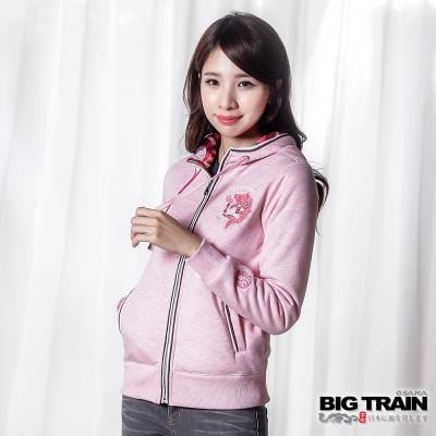BIG-TRAIN-迷彩貼合厚絨毛裡外套-女-粉紅