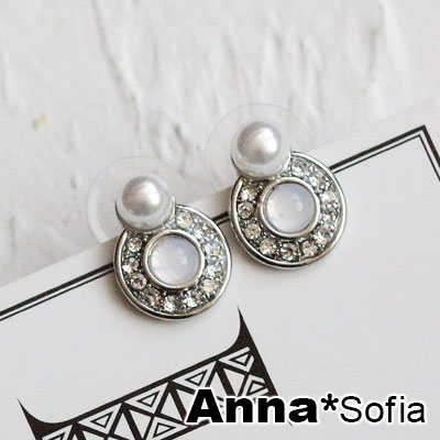 AnnaSofia 貓眼圈珠圓墜 夾式耳環耳夾(銀系)