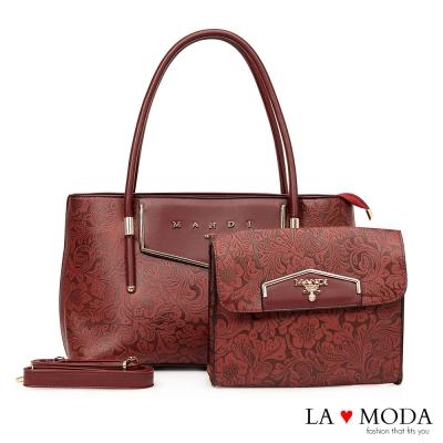 La Moda 華麗美學特殊壓紋超大容量子母包托特包兩件組(紅)