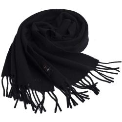 DAKS 經典品牌字母LOGO刺繡義大利製羊毛圍巾(黑)