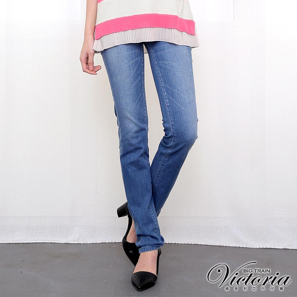 Victoria 中腰雙色鑽小直筒褲-女-淺藍