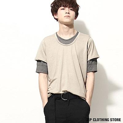 假兩件撞色5分袖T恤(7色) ZIP日本男裝