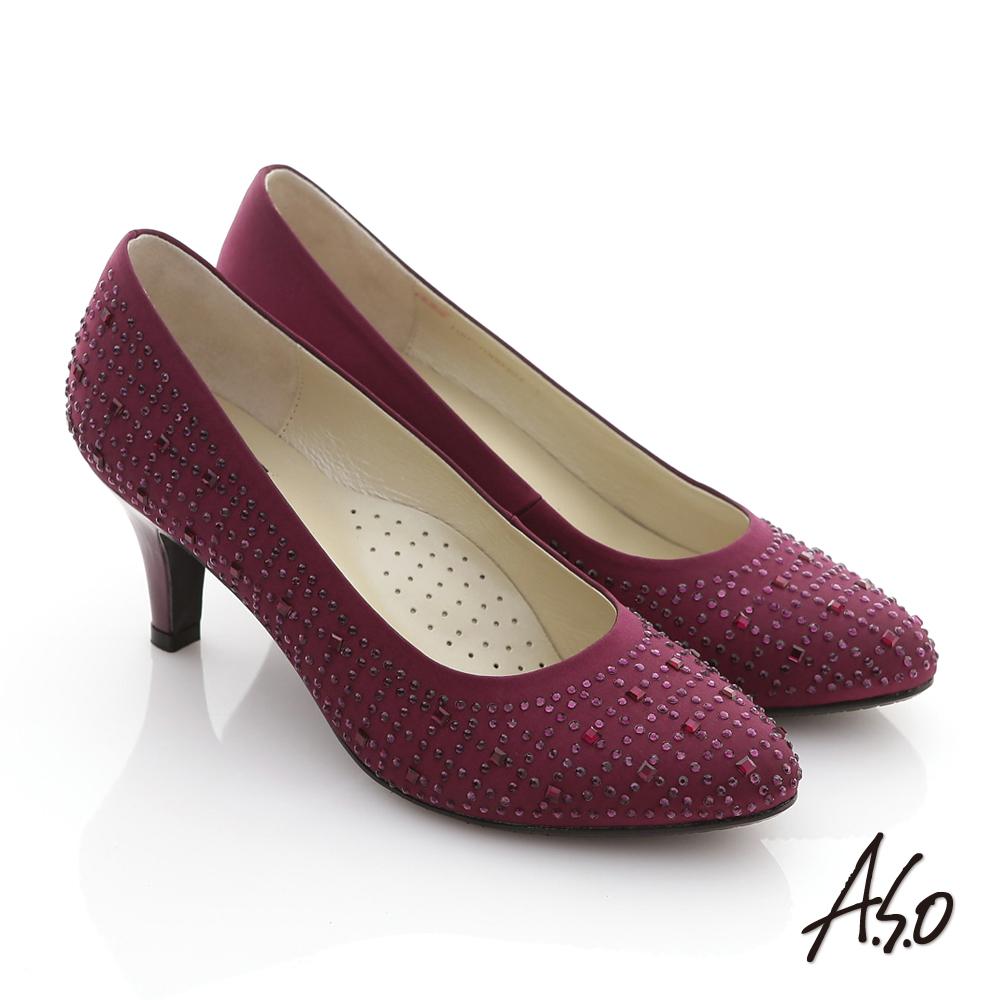 A.S.O 金屬裝飾 閃耀水鑽緞面高跟鞋 紫