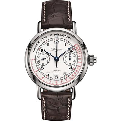 Longines Heritage 浪琴脈搏計時碼錶-白x咖啡/40mm