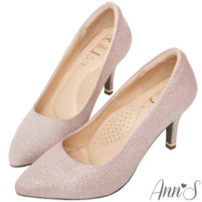 Ann'S睡美人-訂製晶鑽羊皮3D氣墊尖頭高跟鞋-玫瑰金
