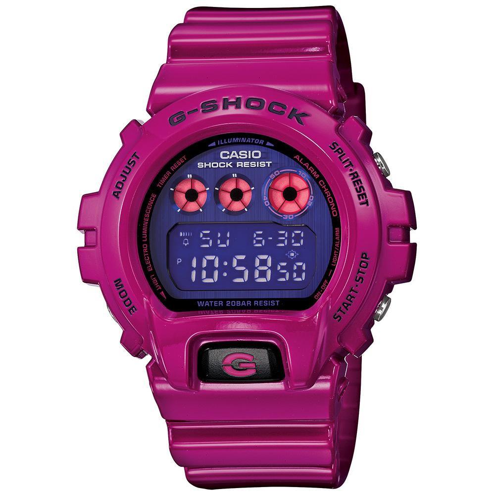 G-SHOCK 街頭生動塗鴉大膽玩味休閒錶(DW-6900PL-4)-藍x紫紅/49mm