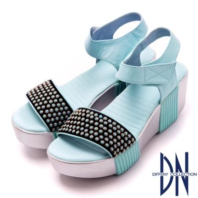 DN 率性俐落 個性真皮MIT珠飾厚底涼鞋-水藍