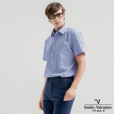 Emilio Valentino范倫提諾英倫簡約短袖襯衫-藍細格